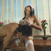 Ideal oriental ladyman engulfing penis and banging her friend.