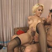 Golden-haired and breasty thai ladyboy a-hole variously fucked.